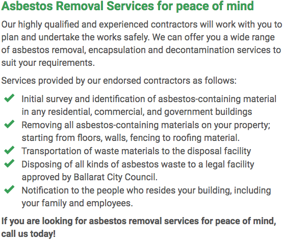 Asbestos Watch Ballarat - removal right